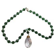 Jewelry Set Pendant Necklace Clip Earrings Emerald Green Beads
