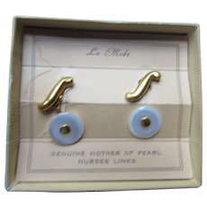 Nurse's Links Genuine Mother of Pearl by La Mode Vintage Cufflinks Original Packet