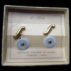 Nurse's Links Genuine Mother of Pearl by La Mode Vintage Cufflinks Original Packet