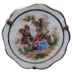 Limoges France Brooch Replica Painted Plate Courting Scene