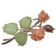 Nolan Miller Brooch Rose Blossom in Peach with Green Leaves and Rhinestone Encrusted Gold Tone Mount