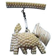 Cutest Scottie Dog Pin in White Pebbly Plastic