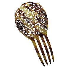 Decorative Hair Comb Faux Tortoise Shell Honey & Root Beer