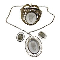 Whiting Davis Demi Parure Clear Cameo Reverse Carved Pendant Necklace, Cuff Bracelet Clip Earrings
