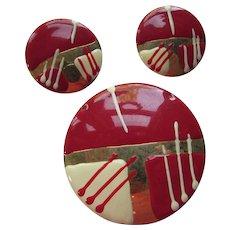 Enamel Pendant & Earrings Cherry Red Gold Cream