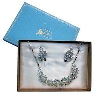 Coro Set in Original Pegasus Box Ice Blue Rhinestone Necklace and Earrings