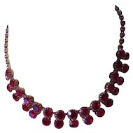 Vintage Necklace Ruby Red Rhinestone Double Row Swag