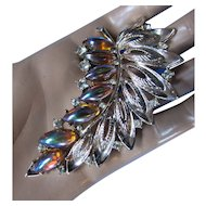 Leaf Design Brooch with Tear Drop Shape Iridescent Stones in Copper and Green and Silver Tone Open Work