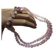 Pretty in Pink Necklace Double Strand Faceted Squares Hook Clasp