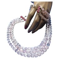 Ballerina Pink Necklace with Squared Faceted Beads and Rose Pink Moonstone Three Strands