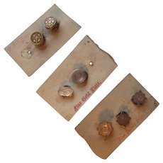 Trio Cards of Victorian Era Button Covers Rolled Gold Plate New Old Stock