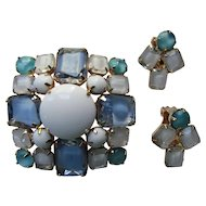Mid Century Style Square, Domed Brooch and Earring Set in Blue and White