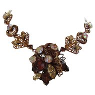 Choker Necklace with Large Center Collage of Citrine Tone Root Beer and Clear Faceted Stones