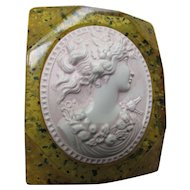 Unusual Mid Century Cameo Brooch in Mustard and Sage Confetti Lucite with Cameo in Blush Pink