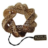 Crown Trifari Gold Tone Open Circle Loop Design with Original Tag