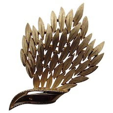 Crown Trifari Leaf Pin in Brushed Gold Tone with Mirror Accents