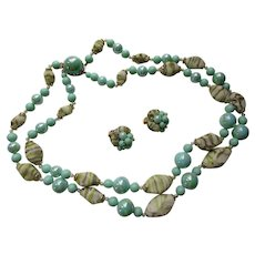 Hong Kong Double Strand Necklace and Earring Set in Seafoam Green Beads with Sugared White Oblong Beads