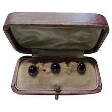 Very Vintage Studs Set of Three in Original Box Faux Amethyst