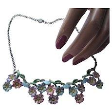Pretty Choker Necklace Purple Blue Pink Flowers