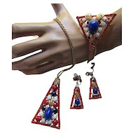 Patriotic Demi Parure Vintage Jewelry in Red White and Blue Stones and Gold Tone Tassels Triangle Shapes