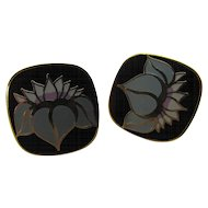 Laurel Burch HO HWA Earrings Post Pierced in Blue Gray and Black