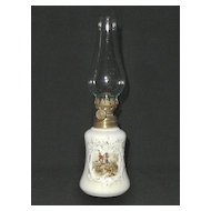 Miniature Oil Lamp with Hunt Scene