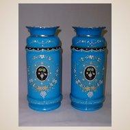 Pair of Antique Bristol Glass Vases