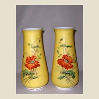 Pair of Antique Poppy Vases