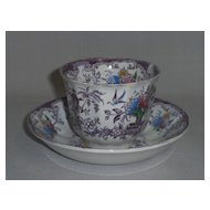 Antique Florilla Transferware Cup & Saucer