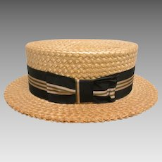 Vintage Men's Straw Boater Hat