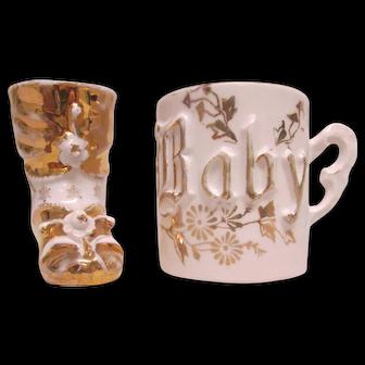 Circa 1915 Baby Cup & Bootie