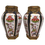 Pair of Antique Porcelain Vases with Ormolu Mounts