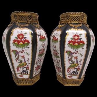 Pair of Antique Porcelain Vases with Ormolu Mounts