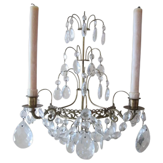 Early 1900's Brass & Crystal Wall Sconces