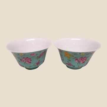 Pair of Chinese Enameled Teacups