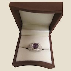 White Gold and Purple Sapphire & Diamond Ring