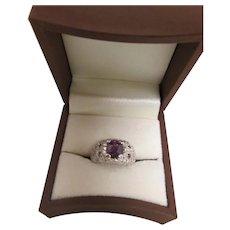 White Gold and Purple Sapphire & Diamond Ring