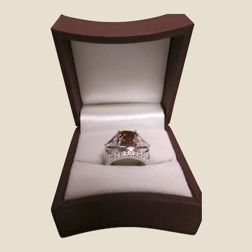 Cognac Diamond and White Gold Ring
