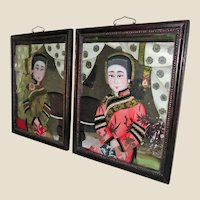 Antique Cantonese Reverse Paintings on Glass