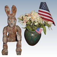 Old Paper Mache Jointed Bunny Rabbit Perfect Primitive Toy