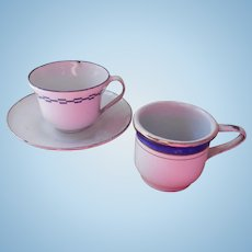 Vintage Enamelware Tea Cups And Saucer Doll Size