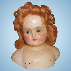 Antique Wax Over Composition Paper Mache Large Doll Head  Blue Glass Eyes