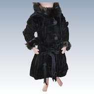 Vintage Doll Coat  Black Velvet With Fur Type Trim Needs TLC