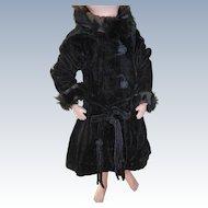 Vintage Doll Coat  Black Velvet With Fur Type Trim Needs TLC