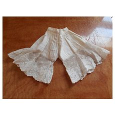 Nice Early Pantaloons Bloomers Soft White Cotton And Lace