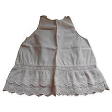 Early White Cotton Full Slip Double Row Of Cotton Lace At Hem