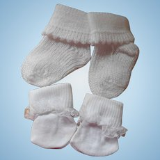 Old Store Stock  1 Pair White Baby Doll Booties 1 Pair Lace Trimmed Ankle Socks Free Shipping