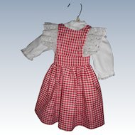 Vintage  Country Red And White Check Pinafore Style Dress With Blouse