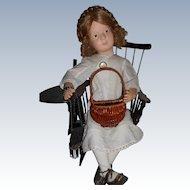 Vintage MINIATURE Doll Size Basket Purse