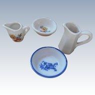 2 Sets Of Vintage  Miniature Water Pitchers  Wash Bowels
